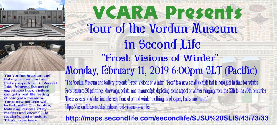 VCARA Presents: Tour of the Vordune Museum in Second Life - Event Poster