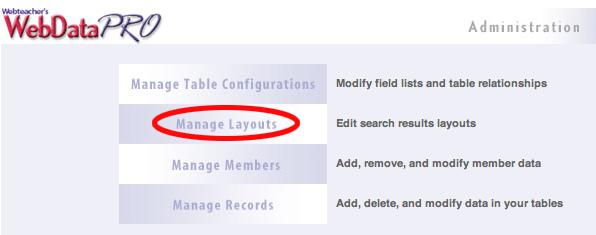 Manage Layouts