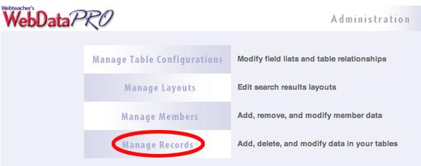 Manage Records Page