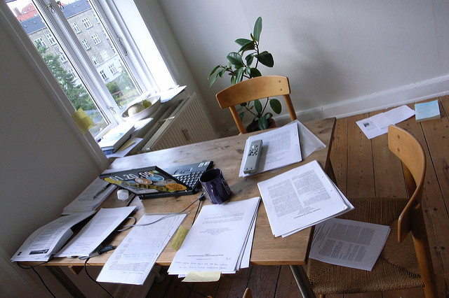 Desk and papers